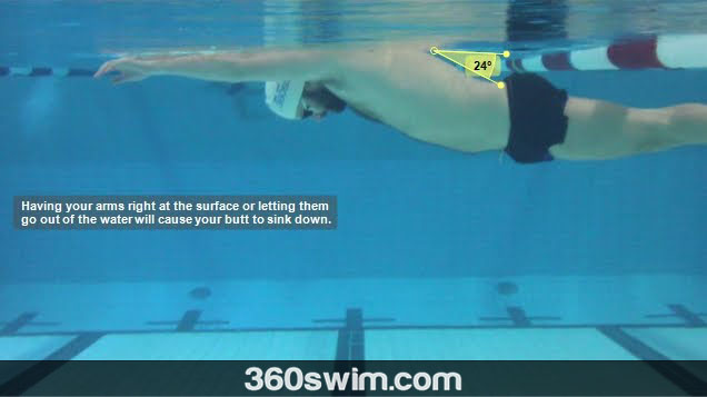 Keeping your arms at the surface or out of the water causes your butt and legs to sink