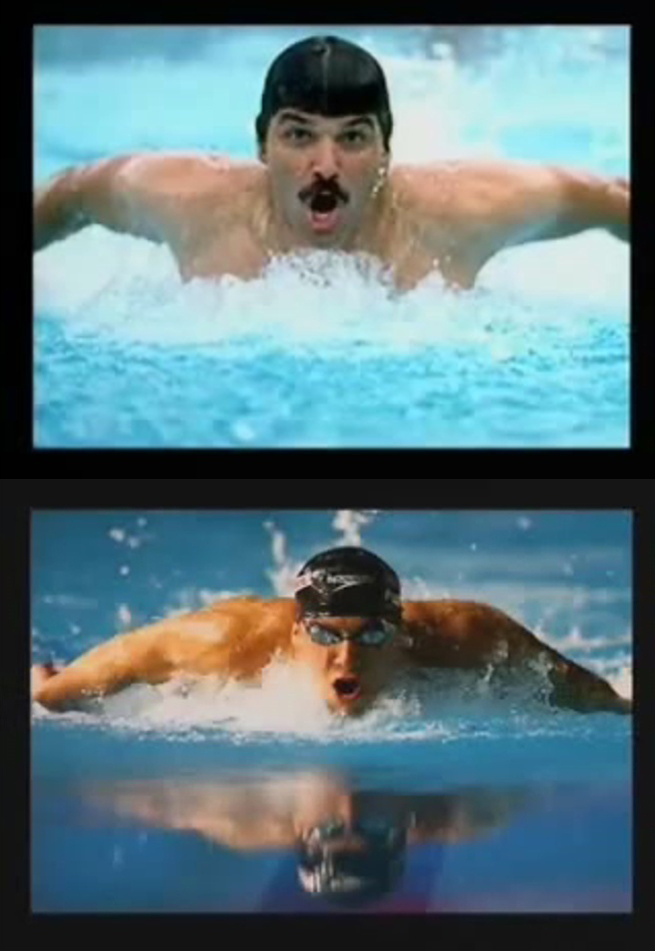 Low gliding butterfly by Michael Phelps vs. High elbow skipping style by Mark Spitz